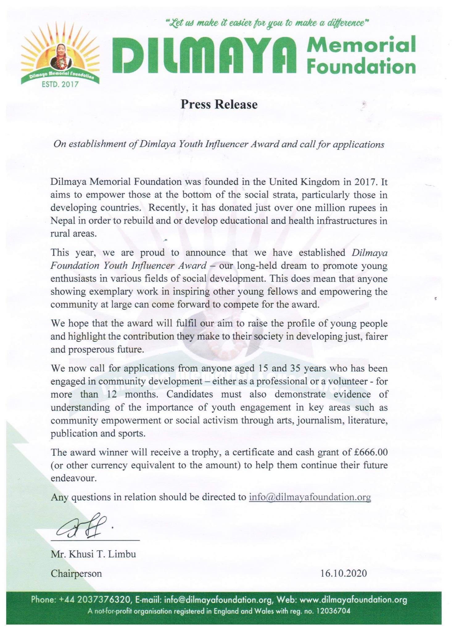 Call for Award Nomination: DILMAYA Youth Influencer Award